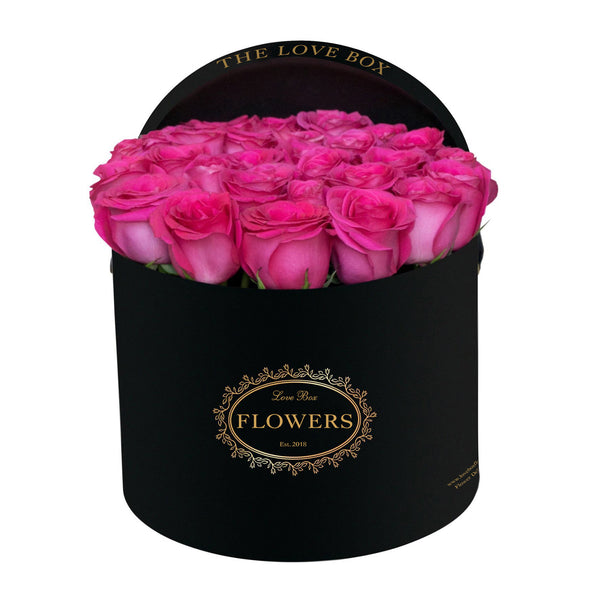 Hot Pink Roses in Large Black Box