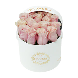 Baby Pink Roses in Medium White Box