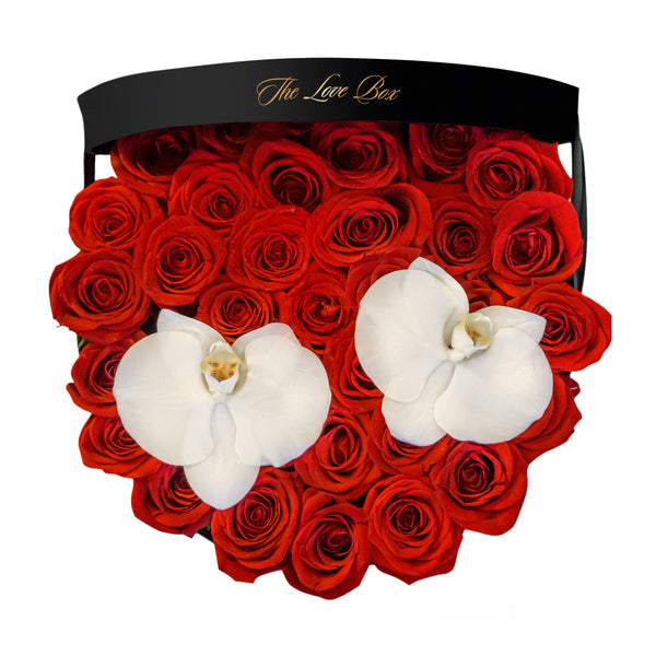 Red Roses with Orchid Flowers in Large Black Box - The Love Box Flowers