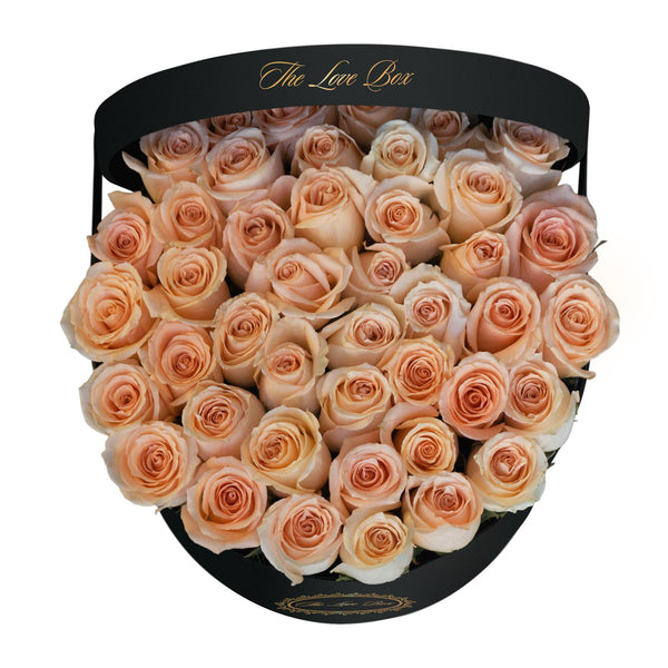 Light Orange Roses in Large Black Box - The Love Box Flowers