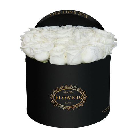 White Roses in Large Black Box