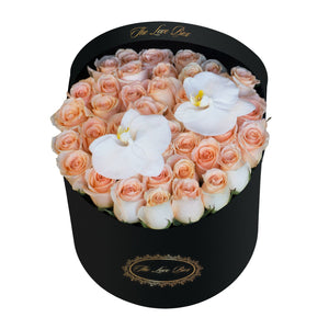 Light Orange Roses with White Orchid Flowers in Large Black Box - The Love Box Flowers