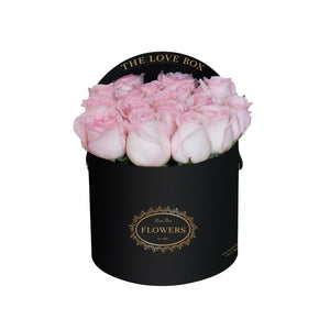 Baby Pink Roses in Medium Black Box