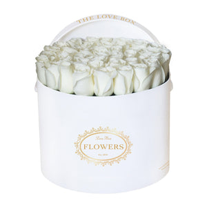 White Roses in Large White Box
