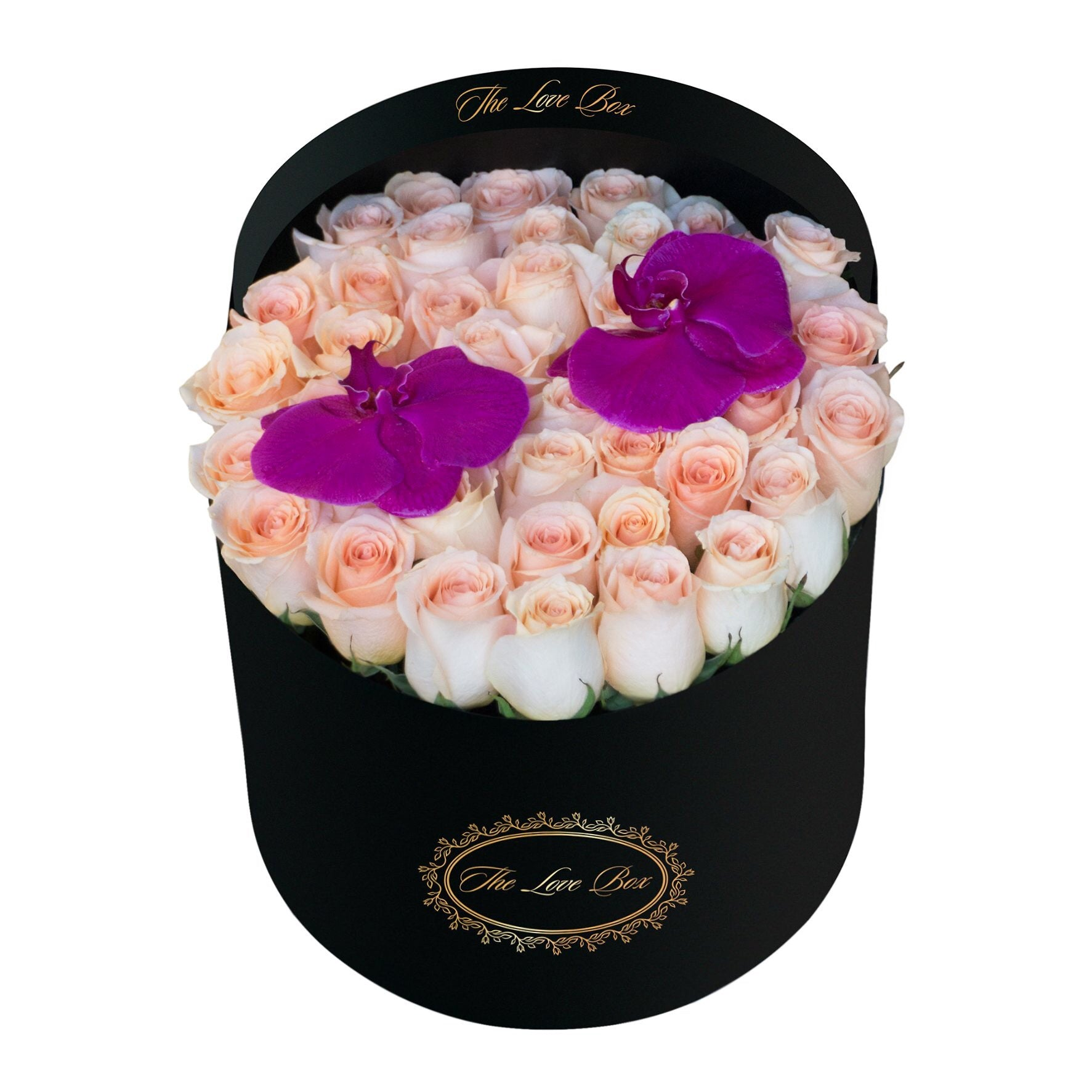 Light Orange Roses with Orchid Flowers in Large Black Box - The Love Box Flowers
