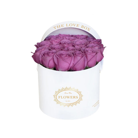 Purple Roses in Medium White Box