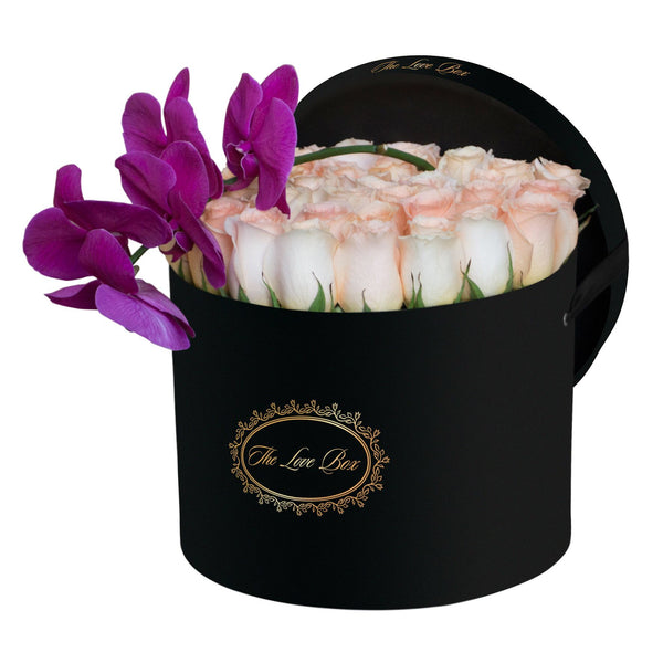 Light Orange Roses with Orchid Branch in Large Black Box - The Love Box Flowers