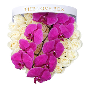White Roses with Orchid Branch in Large White Box