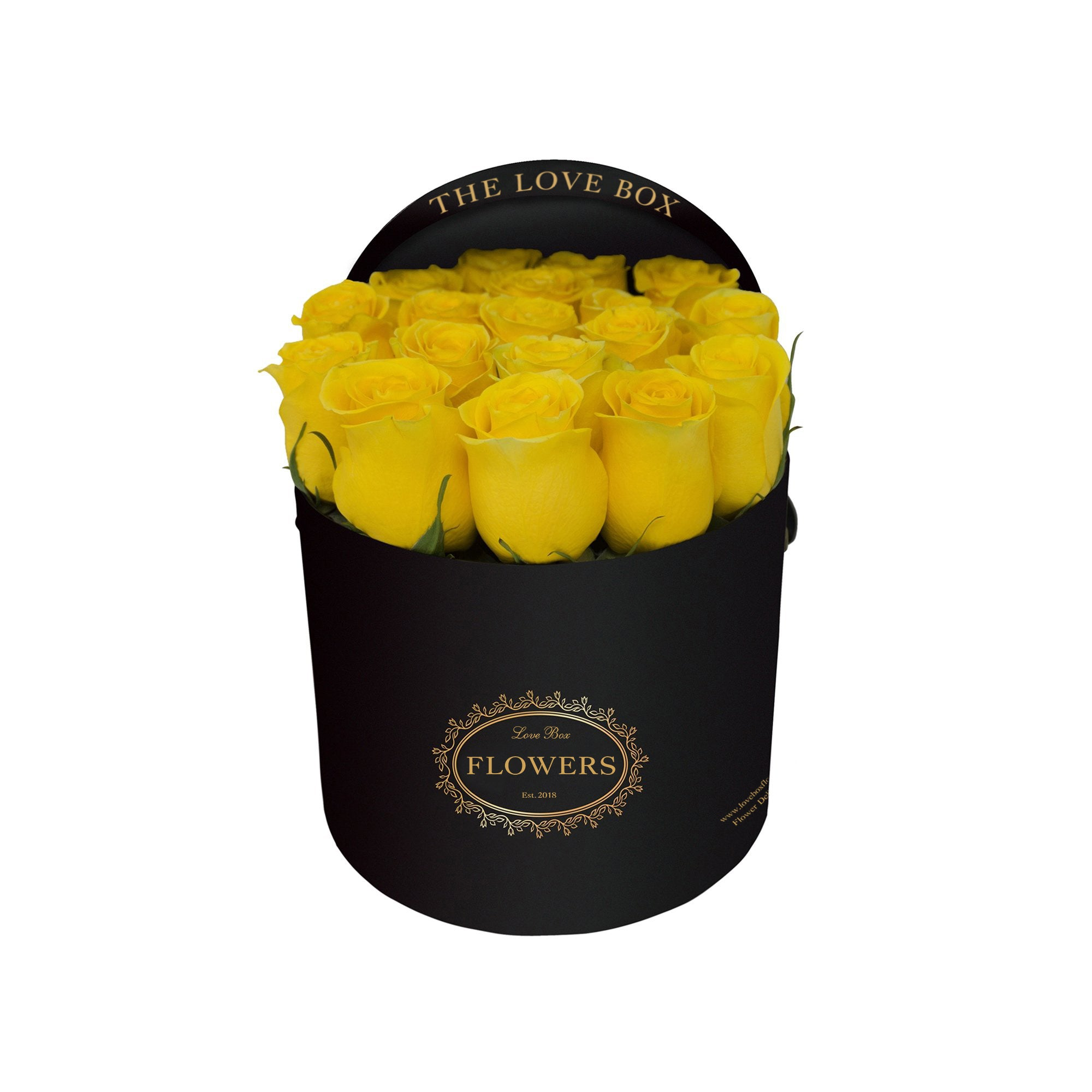 Yellow Roses in Medium Black Box
