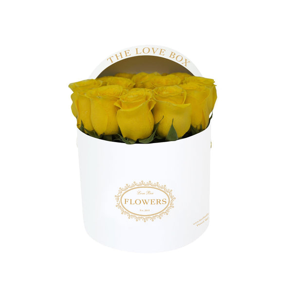 Yellow Roses in Medium White Box
