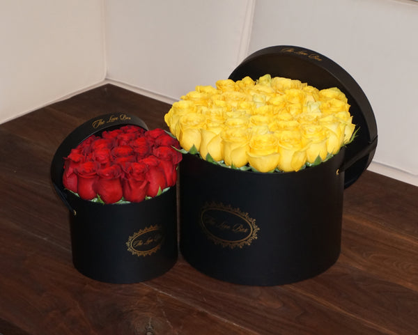 Yellow Roses in Large Black Box - The Love Box Flowers