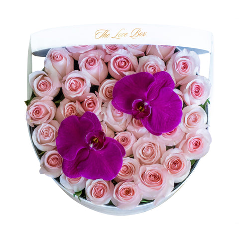 Baby Pink Roses with Orchid Flowers in Large White Box - The Love Box Flowers