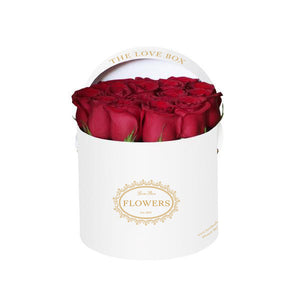 Classic Red Roses in Medium White Box