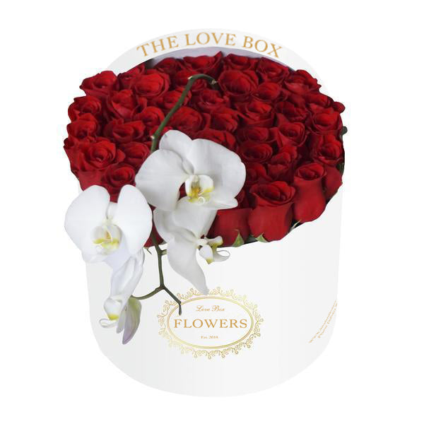 Red Roses with Orchid in Large White Box