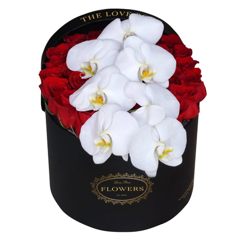 Red Roses with Orchid in Large Black Box