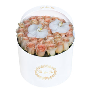 Light Orange Roses with White Orchid Flowers in Large White Box - The Love Box Flowers