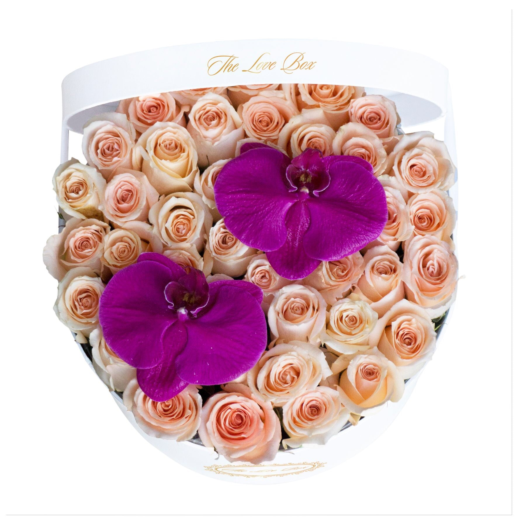 Light Orange Roses with Orchid Flowers in Large White Box - The Love Box Flowers