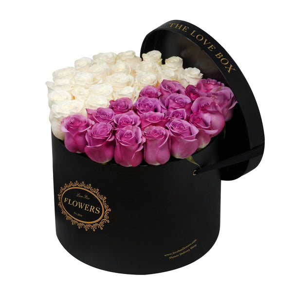 Purple and White Roses in Large Box