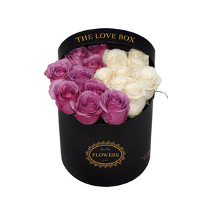 White and Purple Roses in Medium Box