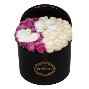 Purple and White Roses with Orchid Flowers in Large Box