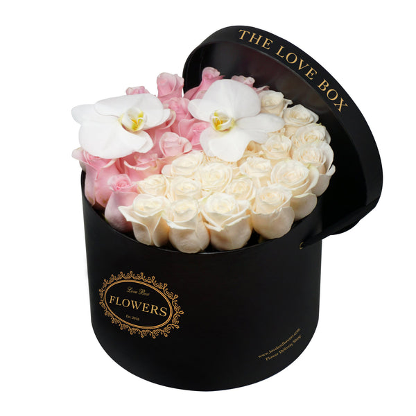 Pink and White Roses with Orchid Flowers in Large Box