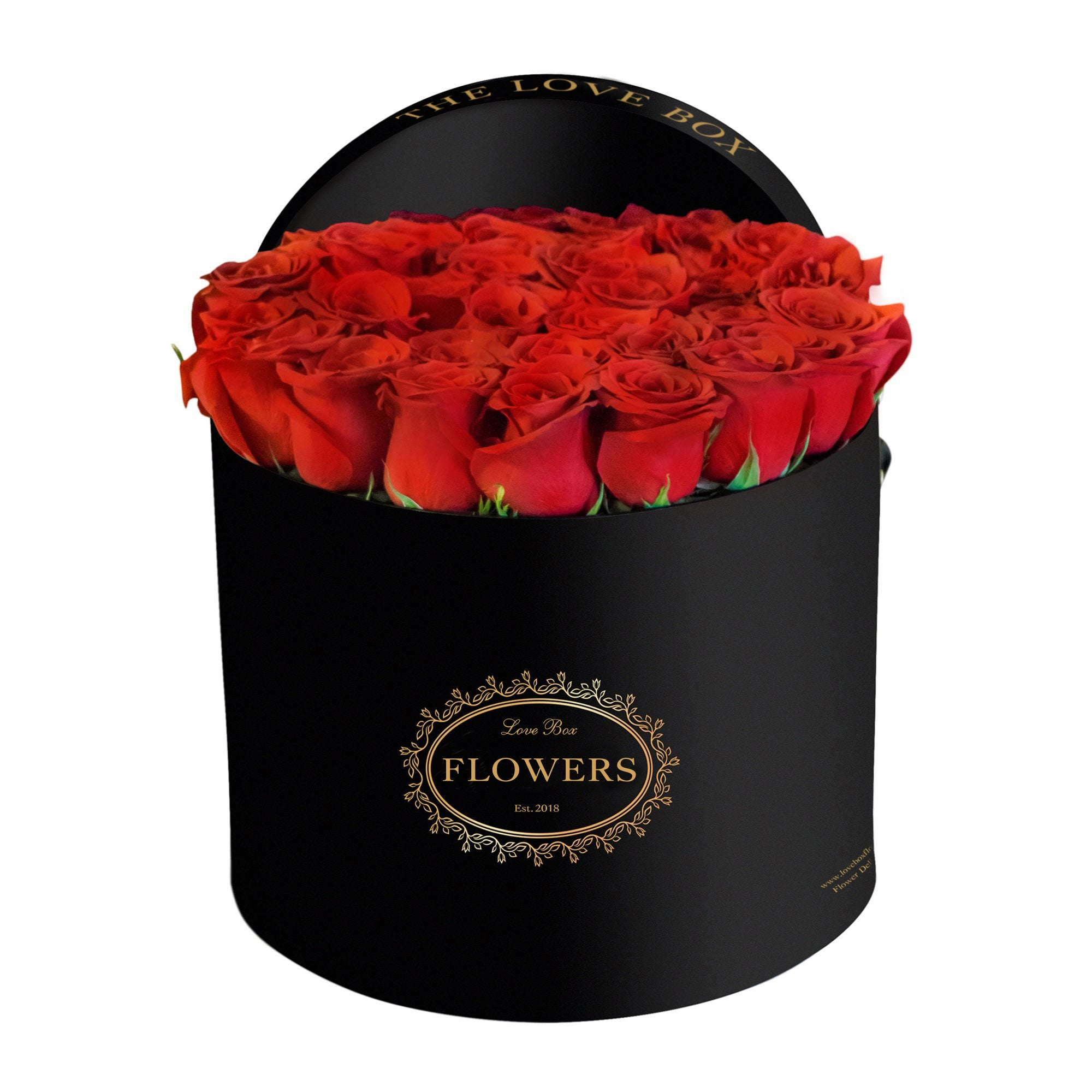 Classic Red Roses in Large Black Box