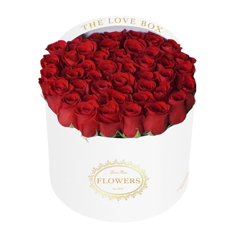 Classic Red Roses in Large White Box