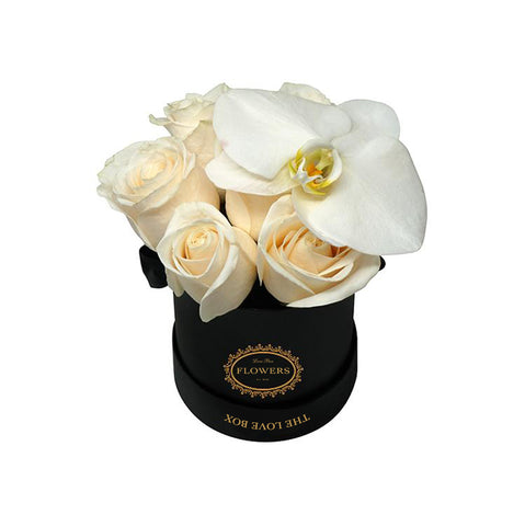 White Roses with Orchid Flower in Mini Box