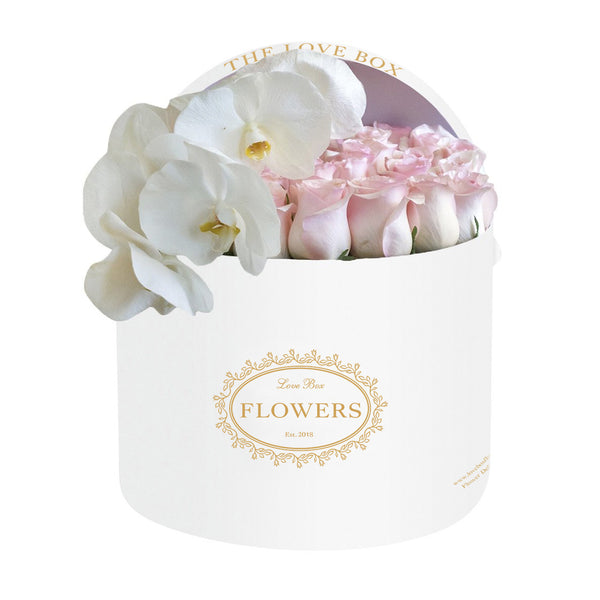 Baby Pink Roses with White Orchid Branch in Large White Box