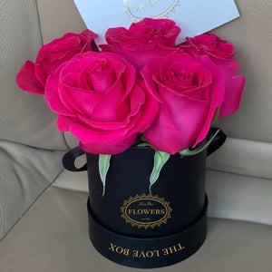 Hot Pink Roses in Mini Box