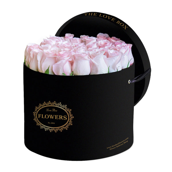 Baby Pink Roses in Large Black Box