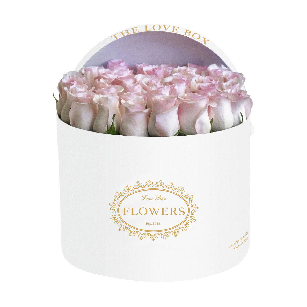 Baby Pink Roses in Large White Box