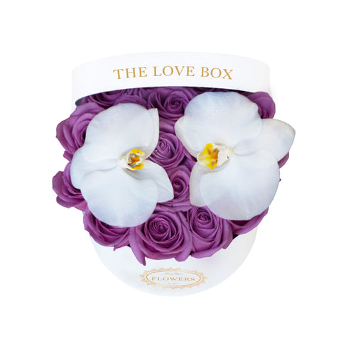 Purple Roses with Orchid Flowers in Medium Box