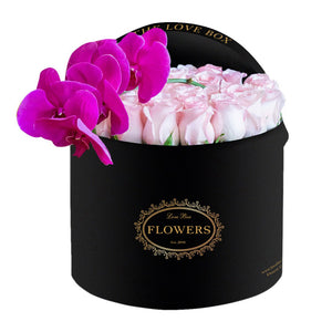 Baby Pink Roses in Large Black Box - The Love Box Flowers