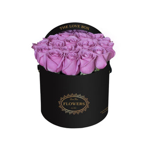 Purple Roses in Medium Black Box