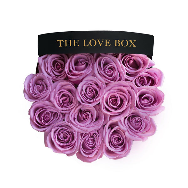 Purple Roses in Large Black Box - The Love Box Flowers