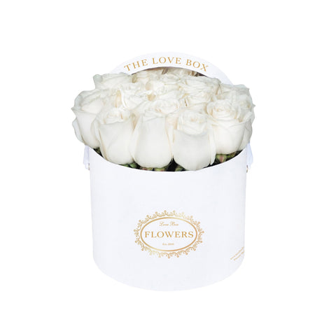 White Roses in Medium White Box