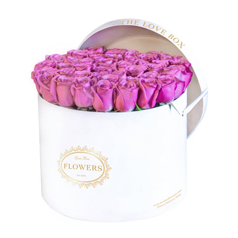 Purple Roses in Large White Box