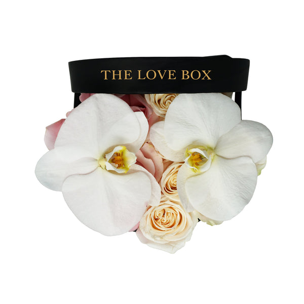 Pink and White Roses With Orchid Flowers in Medium Box