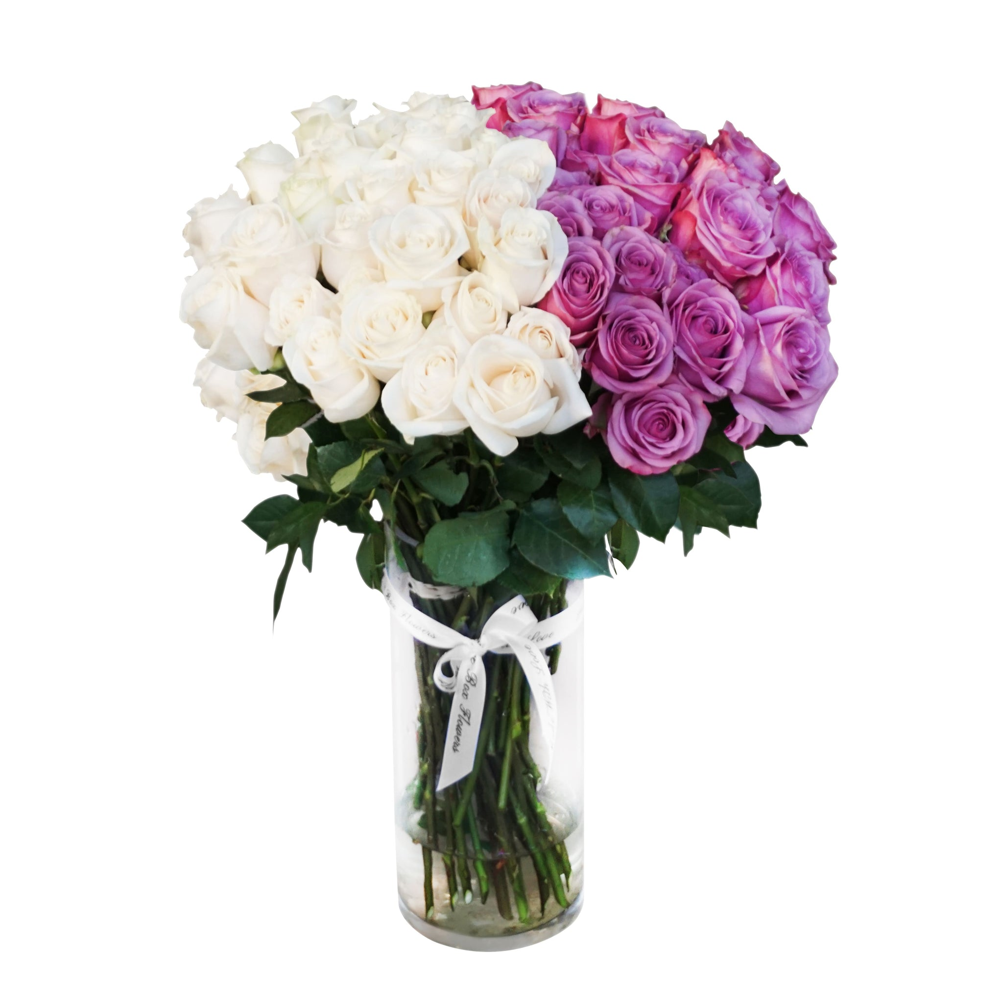 White & Violet Rose Bouquet in Vase