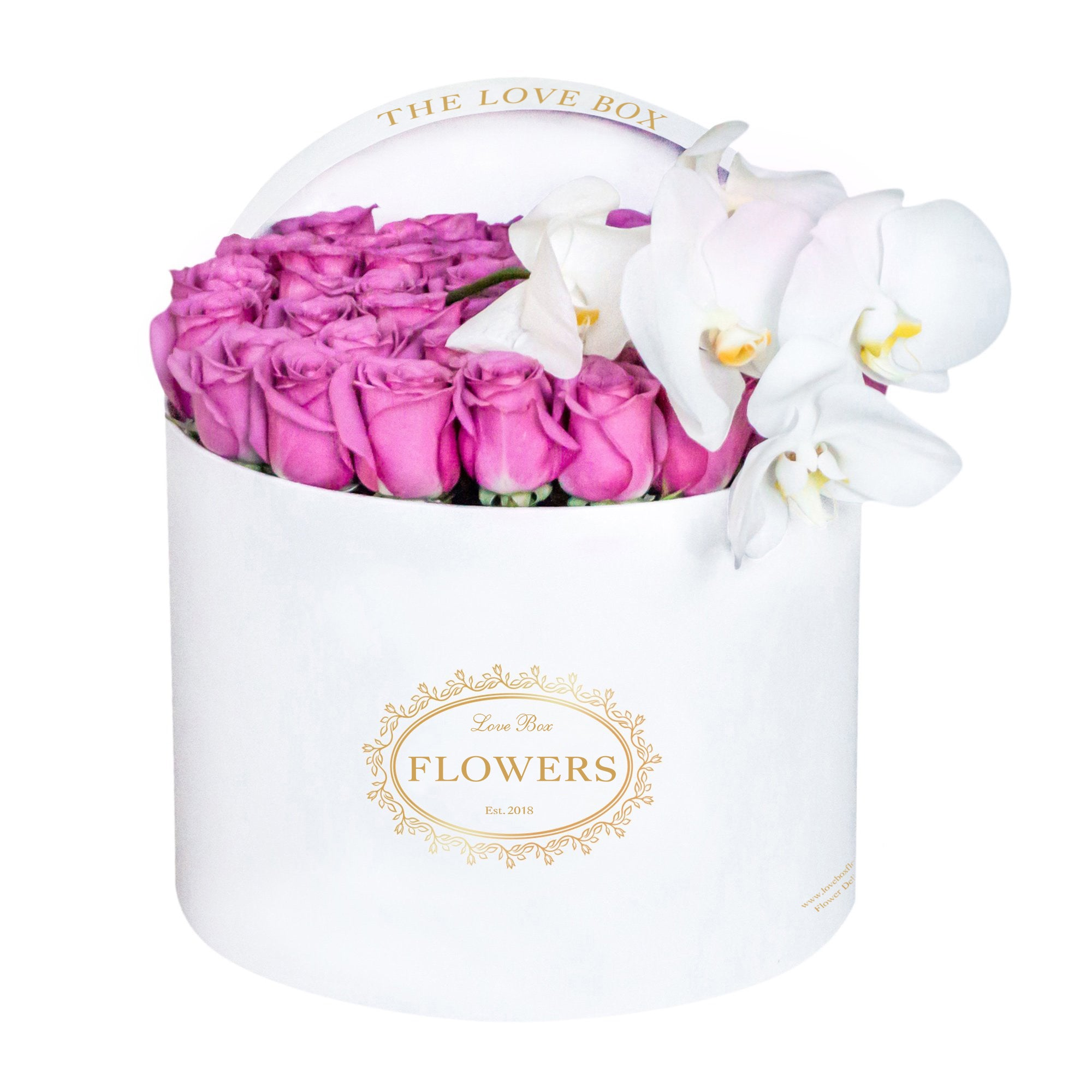 Purple Roses with Orchid Branch in Large White Box