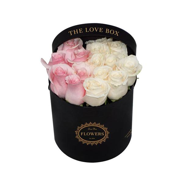 Pink and White Roses in Medium Box