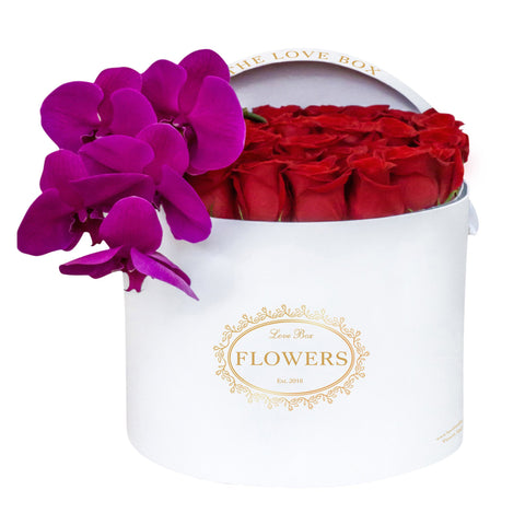 Purple Roses with Orchid Branch in Large White Box - The Love Box Flowers