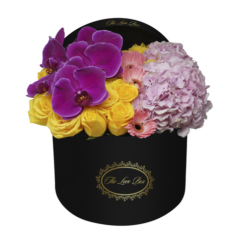 Roses, Hydrangeas, and Orchid Branch in Large Black Box - The Love Box Flowers