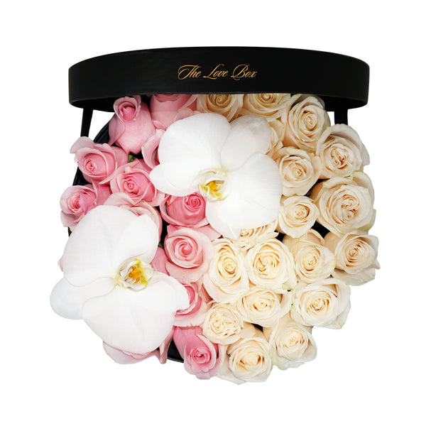 Pink and White Roses with Orchid Flowers in Large Box - The Love Box Flowers