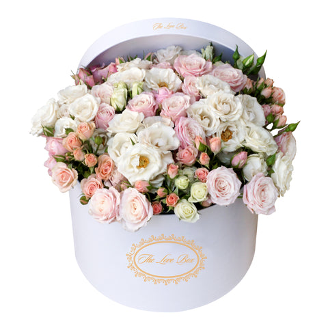 Multicolor Miniature Rose Arrangement in Large Box - The Love Box Flowers