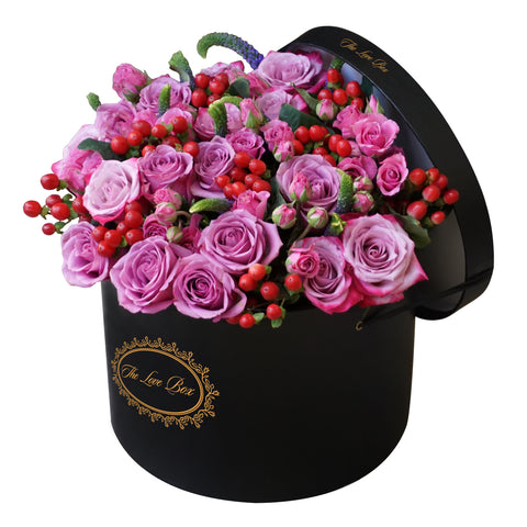 Purple Roses and Flowers Mix in Large Box - The Love Box Flowers