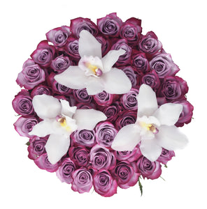 Purple Roses with Orchid Flowers in Large Box - The Love Box Flowers