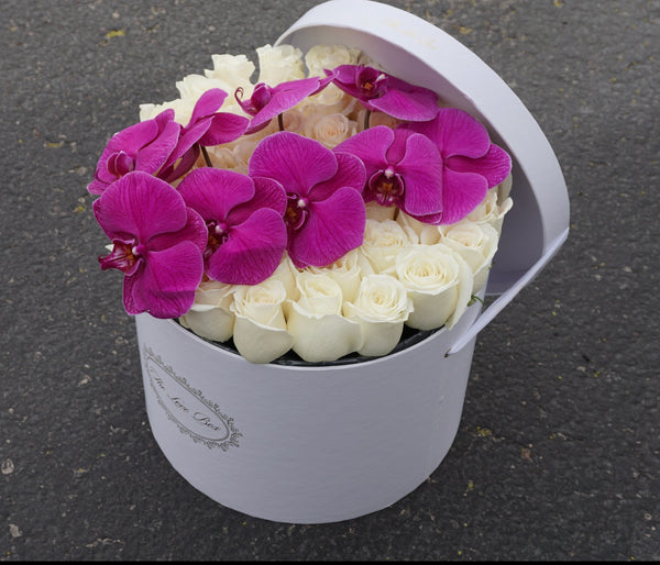 White Roses with Orchid Branch in Large White Box - The Love Box Flowers