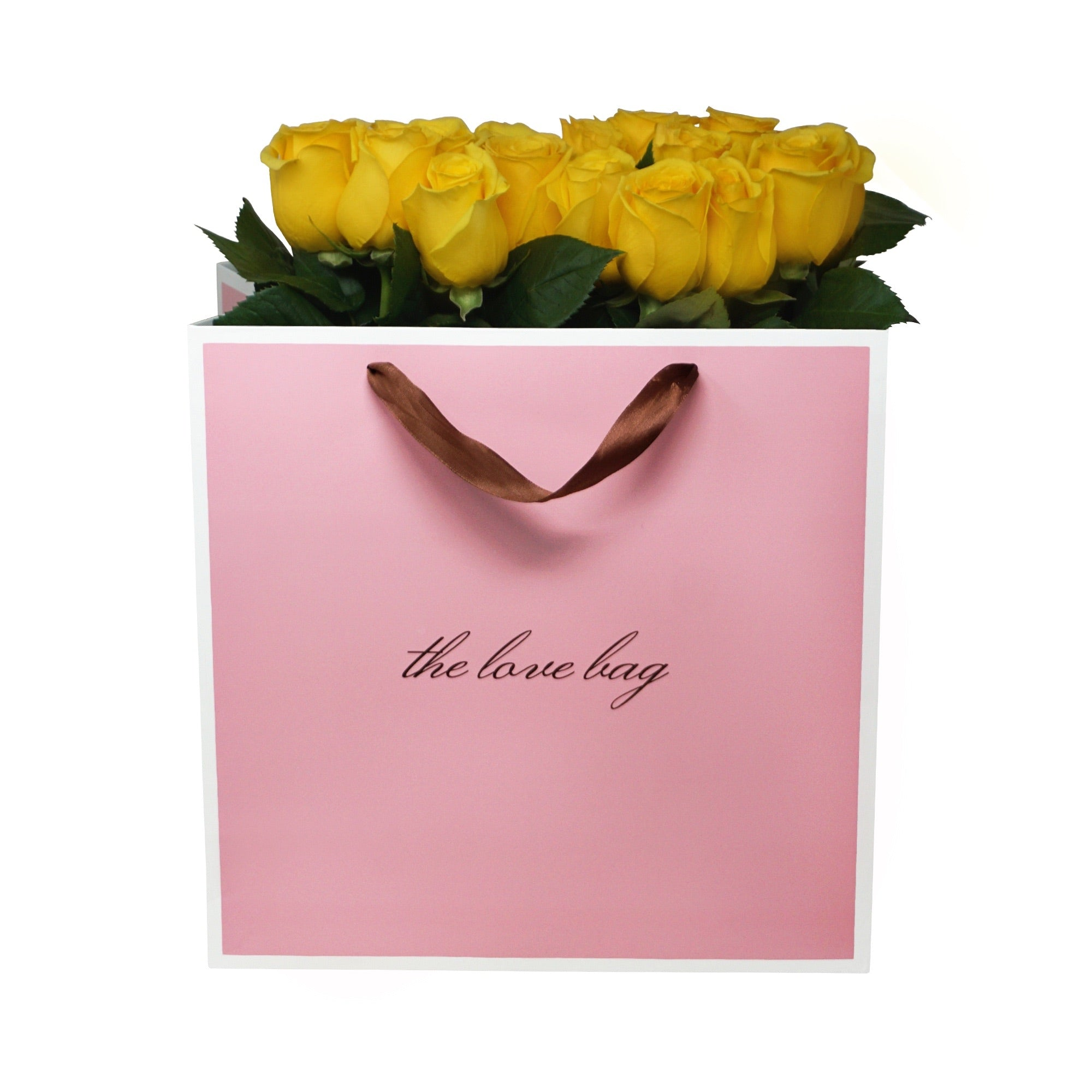 Yellow Roses Bouquet in The Love Bag - The Love Box Flowers